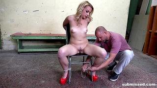 Submissive Rebecca Black in check