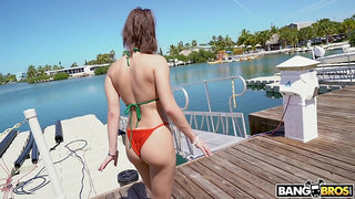 Bitch with plump ass Kira Perez gives her head and gets fucked hard