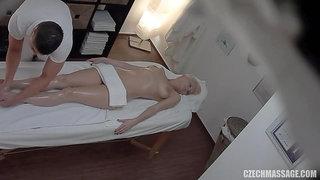 Blonde babe gets oiled Massage