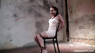 Denisa chair-tied tightly ballgagged