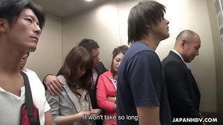 Crazy Japanese elevator group video featuring yummy naughty babe Aoi Miyama