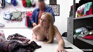 Shameless curvy blonde guilty MILF Sarah Vandella is into sucking cock