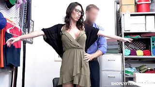 Guilty big breasted black head in glasses Dava Foxx has to ride strong cock