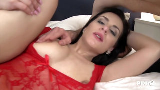 Slutty wife in red, lacy lingerie gets assfucked by a black guy, in front of her husband