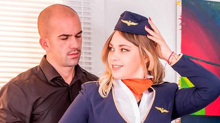 Sweet stewardess Selvaggia gets nicely fucked in the cowgirl pose