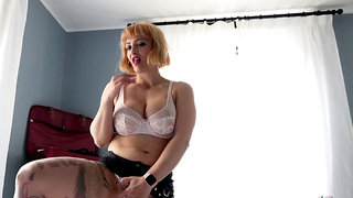Step mummy mary caught stepson fap and help him to cum when dad away
