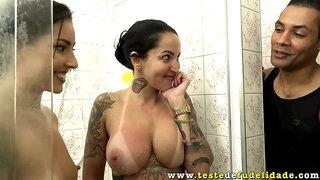 Busty tattooed Latinas Elisa Sanches, Melissa Lisboa share big cock after shower