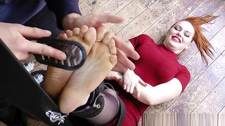Red head tickled in nylons, bare feet, and all over