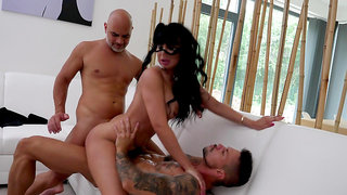 Brunette woman goes dirty with both her partners