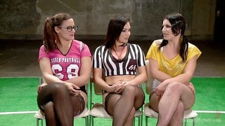 Sexy Lingerie Football Team mates get some Anal Training from Coach