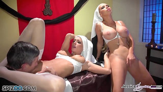 Two nuns get baptised with cum by priest