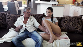 Whorish coed Erica seduces granddad of her best girlfriend