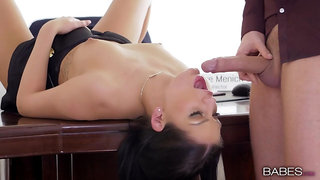 Insolent woman gagged and made to swallow during a hot fuck at work