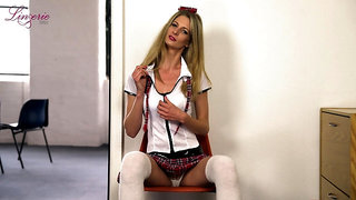 Svelte long legged auburn Leah is naughty coed girl with naughty solo