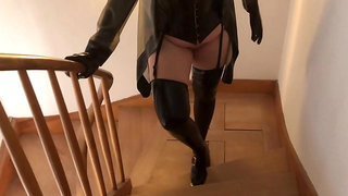 Latex Stockings, Gloves and Corset Dildos and Fucking