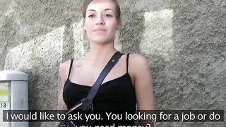 PublicAgent Hot tattoo fitness babe swallows everything for cash