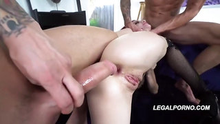 Red haired chick, Lola Faye is screaming from pleasure while getting filled up with two dicks