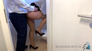 office restroom - boss impregnates me, business-bitch