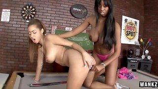 Black Sluts Licking On Top Of Pool Table