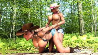 Western futa lesbians threesome animation