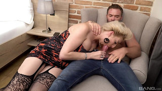 Amateur mature rides and sucks young man's dick in charming modes