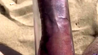 Giant Dick Cumshot On Public Beach - Pumped And Jerked To Cum Eruption