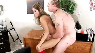 Coach and a cute student fucking on his desk