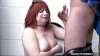 Abnormal officer tucks Amber Dawns cougar labia from behind