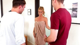 Alexis Fawx soaps her body in the shower as her stepson and his buddy watch in amazement