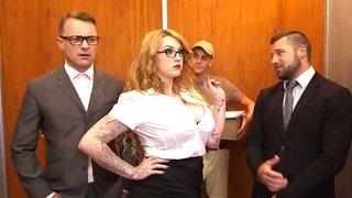 Secretary slut Harmony Reigns has a threesome in the elevator