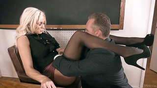 Strict looking busty blonde principal Kenzie Taylor lures dude to fuck mad
