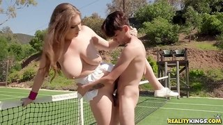 Big natural tits girl Alex Chance got fingered and fucked on tennis court