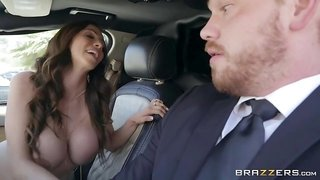A limo driver gets blowjob from hot chick with big boobs