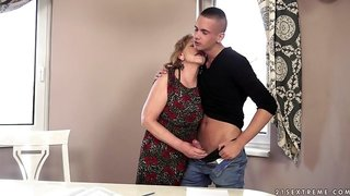 Sally gets a young angry cock to fill her holes in all styles