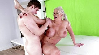 Young man deep fucks his freckled step mom in hardcore
