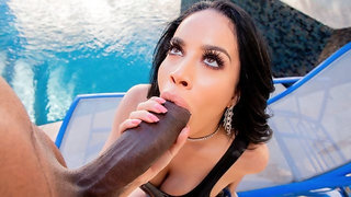 Alluring busty brunette Victoria June jumps on a pretty big cock