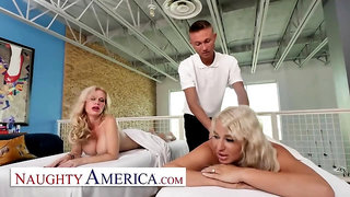 Insatiable America - Casca Akashova and London Sea get a Utter Service from their Massagist