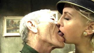 Old army soldier satisfies a juicy blonde