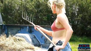 Big ass country MILF blonde Jenessa Dawn outdoor striptease fun