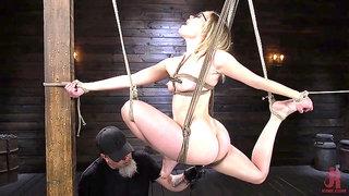 Tied Up submissive blonde in eyeglasses Katie Kush - fetish BDSM, bondage, natural tits