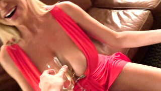 Gold-haired cougar with massive boobs is getting viciously banged by her new lover