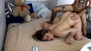 Delightful teen gets banged hard by her boyfriend on webcam