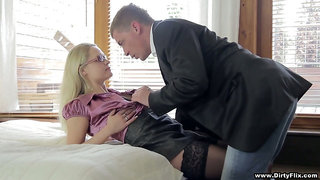 Delicious blonde in stockings Barra Brass gets intimate with barely known guy