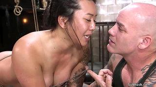 Full-Bosomed Asian sub finger had sex