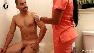 Slutty nurse bathes and fucks her patient