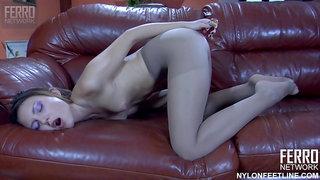 Isabel A foot fetish solo - brunette masturbating anal dildo pantyhose nylon feet