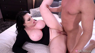 Thick tattooed mom gives blowjob and rides a big cock like a champ