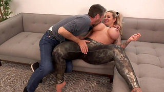 Voluptuous blonde woman, Ryan Conner and Steve Holmes are fucking on the sofa, all day long