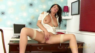 Leah fingers her naughty secretary pussy