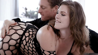 Energized wife rides dick dressed in her hot fishnets